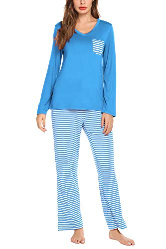 AKEWEI Women Fasion Long Sleeves V Neck Top with Pants Ladies 2-Piece Pajama Set Sleepwear Pjs Sets Housewear Lake Blue L