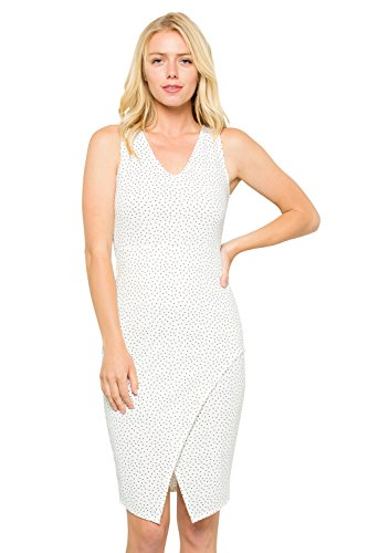 Dress Front Dotted (Acting Pro Women's Dotted Pattern Sleeveless Fitted Short Dress with Slit on The Front Hem D6349_WT_M)