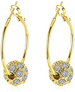 Fashion Earrings Big Round Earring For Women Rhinestone Paved Rose Gold Color Jewelry