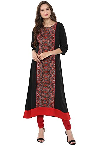 Janasya Indian Tunic Tops Crepe Kurti for Women (JNE2085-KR-279-S) Black