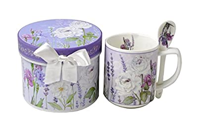 Lightahead 9 oz Bone China Mug with Spoon set in a reusable handmade gift box (ribbon on ring), in Lavender Treasure design