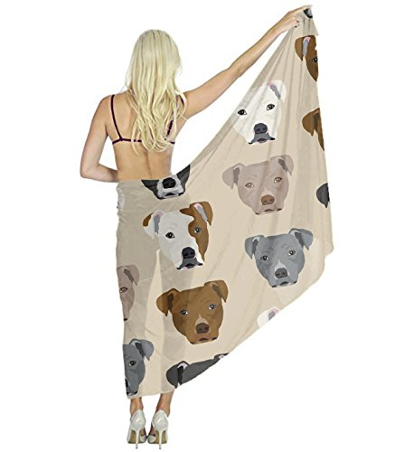 Women Scarf Large Pitbull Heads Shawl Wraps for Evening Dress, Wedding Party by YESGOCO