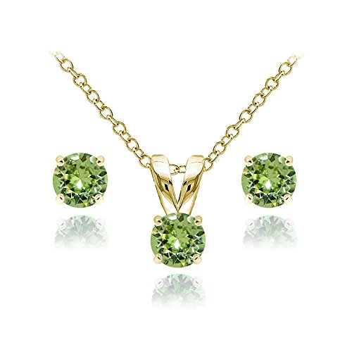 Yellow Gold Flashed Sterling Silver Solitaire Light Green Necklace and Stud Earrings Set created with Swarovski ()