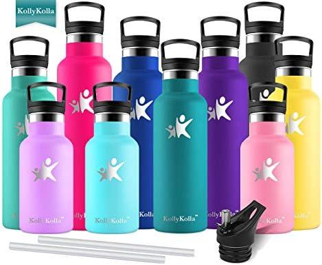 KollyKolla Botella de Agua Acero Inoxidable Termica Oficina Termos Ecológica Frascos Térmicos Deportiva con Pajita y Filtro Termo Niños Sin BPA Water Bottle ...