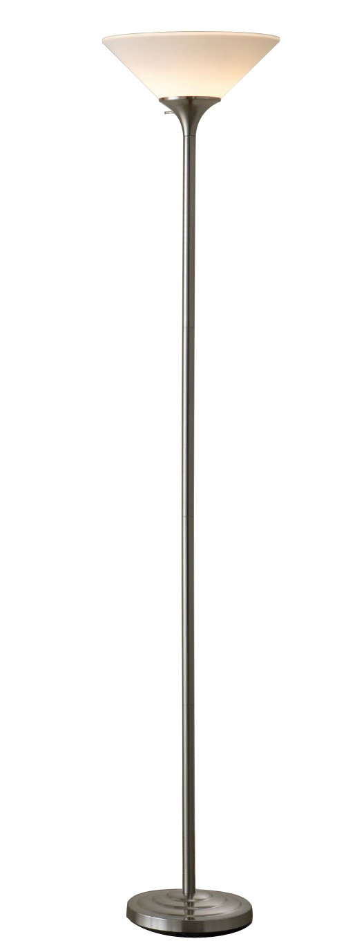 normande lighting 150watt concord torchiere lamp brushed steel