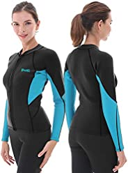 Women's Wetsuit Top, 2mm Neoprene Wetsuit Jacket Long Sleeve Front Zip Wetsuit Shirt for Swimming Diving S