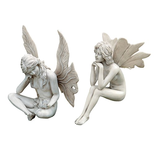 - Design Toscano The Secret Garden Fairy Statues, 11 Inch, Set of Two Gazing and Pondering, Polyresin, Antique Stone