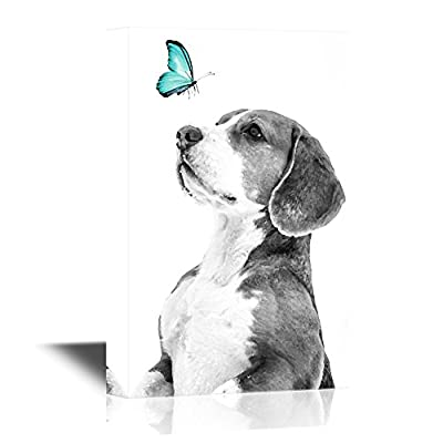 Canvas Wall Art - Butterfly and a Dog - Gallery Wrap Modern Home Art   Ready to Hang - 12x18 inches