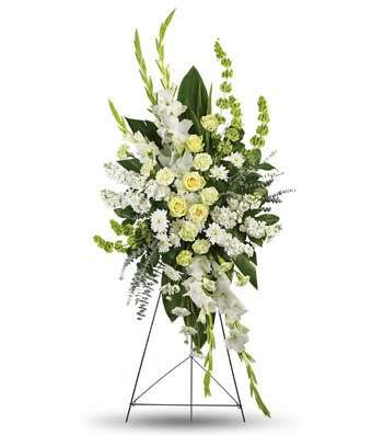 - White Gladioli Grace - Same Day Funeral Flower Arrangements - Buy Flowers for Funeral - Send Funeral Flowers Delivery & Condolence Flowers Today