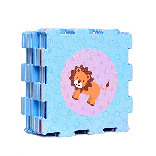 Animals Shapes Rubber EVA Foam Puzzle Play mat Floor. 9 Interlocking playmat Tiles (Tile:12X12 Inch/9 Sq.feet Coverage). Ideal: Crawling Baby, Infant, Classroom, Toddler, Kids, Gym Workout time
