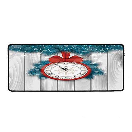 Clock Decor Ordinary Mouse Pad,New Year Midnight A Clock and Fir Branch Illustration Decorations for Home for Computers Laptop Office & Home,15.75''Wx35.43''Lx0.12''H