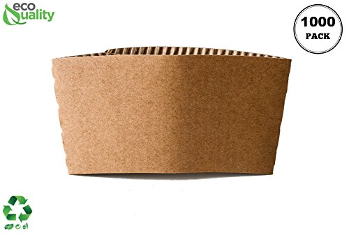EcoQuality 1000 Pack Hot Cup Sleeves - Corrugated Coffee Cup Sleeves - Protective Corrugated Disposable Paper Cup Jackets - Fits most 10oz, 12oz, 16oz, 20oz - 100% Recyclable