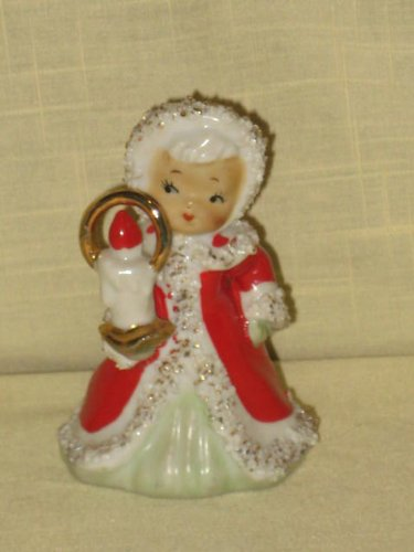 Vintage Lefton Porcelain Christmas Angel w/ Candle Bell