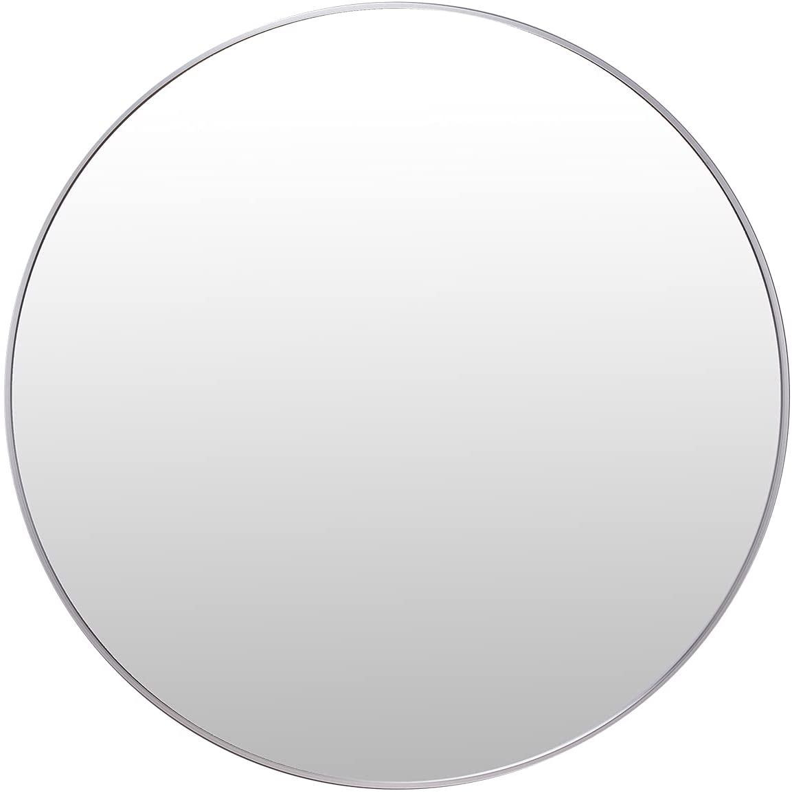 Villacola 36 Inches Round Wall Mirror, Decorative Brushed Aluminium Frame Circle Mirror for Bathroom, Entryway, Washroom, Living Room and More, Silver