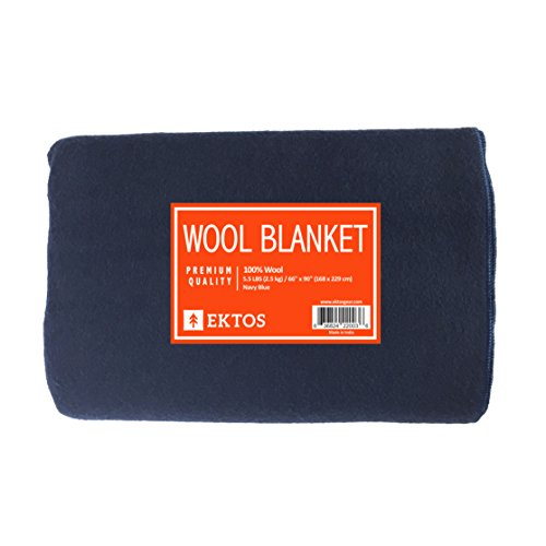 Ektos 100 Wool Blanket Navy Blue Warm Amp Heavy 5 5 Lbs