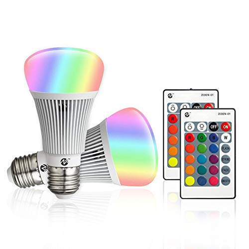 Z RGB LED Bulbs Color Changing Light Bulbs Dimmable 10W E26 Base Daylight White Remote Controller A19 Flood Light Bulb 100 Watt Equivalent (2 Pack-A)
