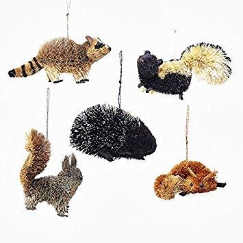 Kurt Adler 5 Assorted Buri Woodland Animal Fox, Skunk, Raccoon, Squirrel And Porcupine Christmas Ornaments (Ornaments Christmas Buri Tree)