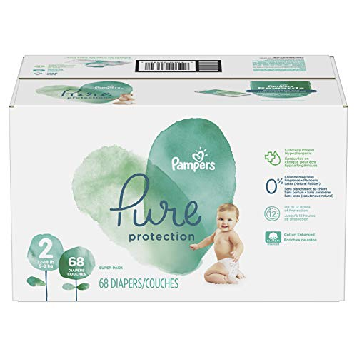 Pampers Pure Disposable Baby Diapers, Hypoallergenic and Fragrance Free Protection, Size 2, 68 Count, Super