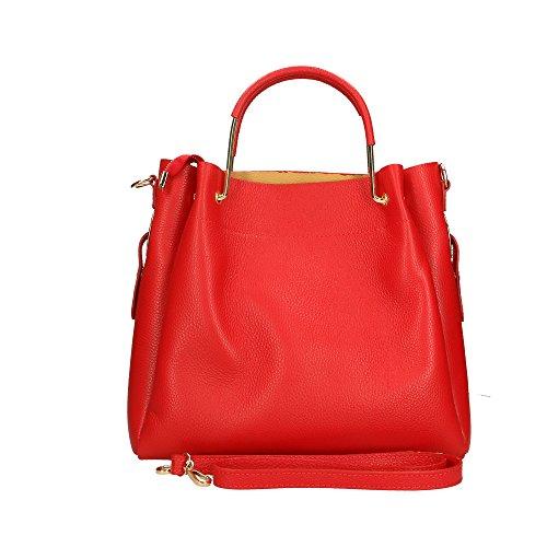 femme 33x30x13 Aren Made in Italy en cuir véritable Rouge main Cm à Sac t6qw6gT