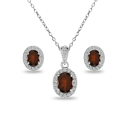 Sterling Silver Garnet and White Topaz Oval Halo Necklace and Stud Earrings Set