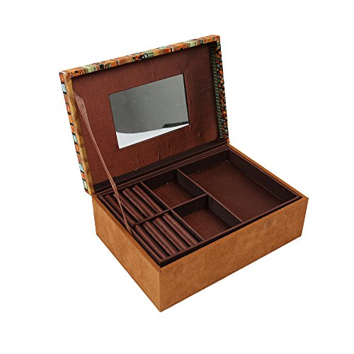 Truu Design, 9 x 6.25 x 3.5 inches, African Jewelry Box, Beige, Orange, Green, Black