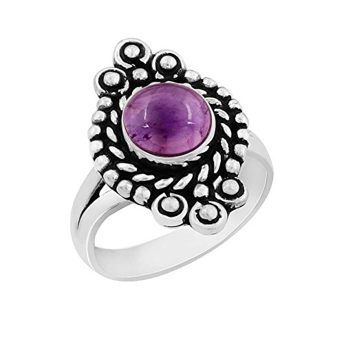 Genuine Round Shape Amethyst Solitaire Ring 925 Silver Plated Vintage Style Handmade for Women Girls (Size-6) ()