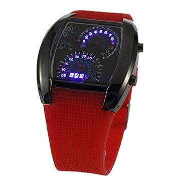 Eastlion Relojes para hombre de aviación LED luz azul Caja es negra y Correa es roja Aviator Estilo Digital Matrix LED: Amazon.es: Electrónica