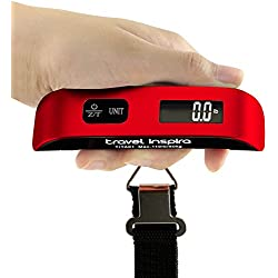 Travel Inspira Digital Hanging Postal Luggage Scale with Carry Pouch Temperature Sensor Rubber Paint Technology White Backlight LCD Display 110LB / 50KG - Red