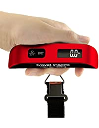 Digital Hanging Postal Luggage Scale with Carry Pouch Temperature Sensor Rubber Paint Technology White Backlight LCD Display 110LB / 50KG - Red