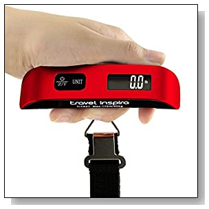Travel Inspira Digital Hanging Postal Luggage Scale with Temperature Sensor Rubber Paint Technology White Backlight LCD Display 110LB / 50KG - Red