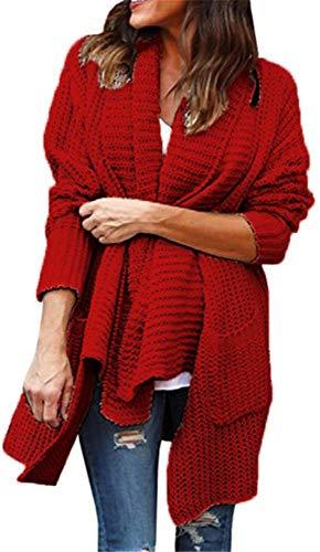 Poches Longues Torsad YOGLY Long Pull Cardigan Couleur avec Unie Femme Manches Gilet IqwC0PTq