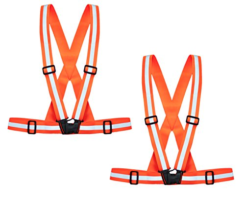 Reflective safety vest (2 pack): Comfortable, lightweight, adjustable elastic suspenders/belt for increased visibility. Ideal for cycling, running, walking, construction - Fluorescent orange
