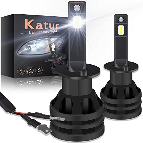 KATUR H1 Led Headlight Bulbs Mini Design Upgraded CREE Chips Extremely Bright 12000 Lumens Waterproof All-in-One LED Headlight Conversion Kit 55W 6500K Xenon White-2 Years Waranty