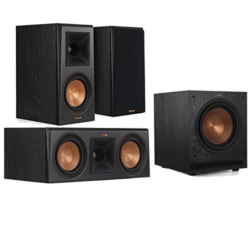 Klipsch 3.1 Speaker System Bundle with (1) Klipsch RP-500C Center Channel Speaker, (2) Klipsch RP-500M Bookshelf Speakers, and (1) Klipsch SPL100 10