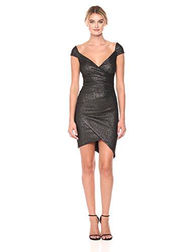 Nicole Miller Women's Flitter Knit Off Shoulder Stefanie Dress, Black/Silver (BSL), 2