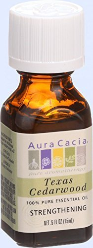 Aura Cacia 100 Percent Pure Organic Cedarwood Texas Essential Oil, 0.5 Ounce -- 6 per case.