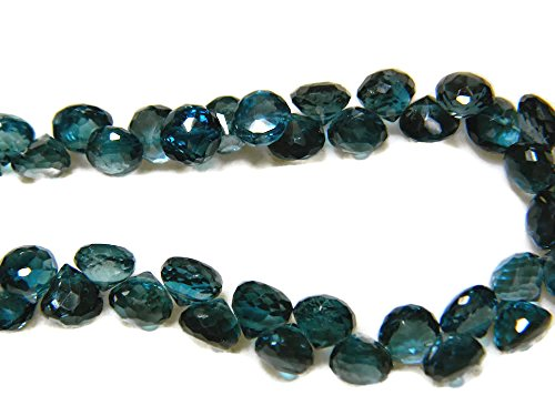 (10pcs, London Blue Topaz Onion Briolettes Faceted Beads, 6mm Beads, SKU-Dscn5793)