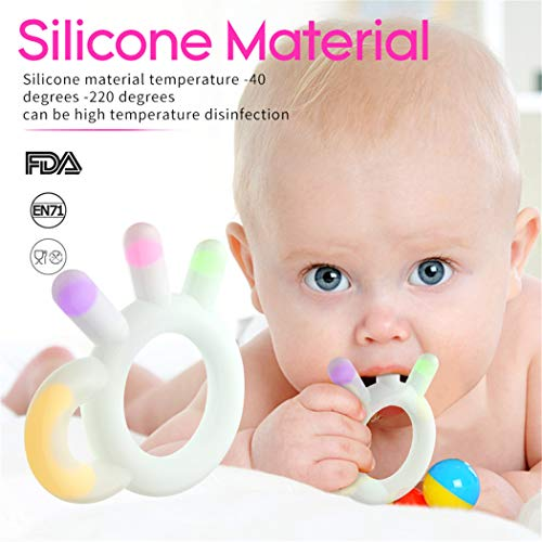 ASCENONS Baby Sensory Teether Toy & Fruit Teethers for Babies, Safe Soft Bendable BPA & Phthalates Free, FDA Compliant Silicone Baby Teether Massage Gums Baby Dental Massager