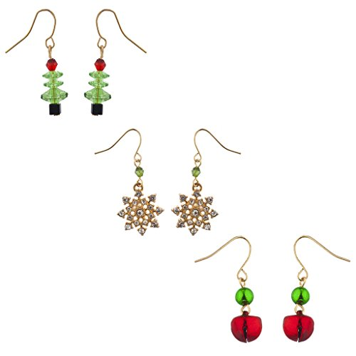 Lux Accessories Goldtone Christmas X-Mas Holiday Dangle Multi Earring Set 3PC