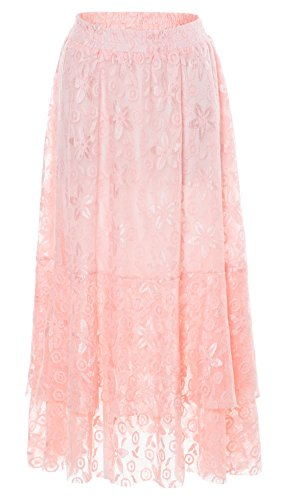 Chartou Women's Sweet Elastic-Waist Asymmetric Floral Laced A-Line Layered Long Flare Skirts (Pink, Medium)