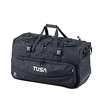 TUSA Dive Gear Roller Duffle Bag in Black & DiveCatalog's Orange Whistle w/Lanyard & Dive Flag Sticker