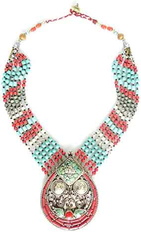 Beautiful Multi Strand Hand Knotted Turquoise and Coral Gemstone Inlaid Tibetan Shell Beads//NAGA Conch Shell Beads Large Pendant Necklace FINE Engraving Filigree Fashion Bohemian Nepalese Necklace