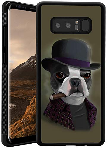 Retro Case Bowler Hat Terrier with Cigar for Samsung Galaxy Note 8 Soft Protective Case Fashion Style Flexible Rubbery Slim Black Phone Case