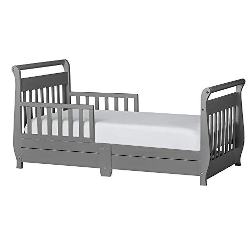 Dream On Me Sleigh Toddler Bed w/Storage Drawer, Storm Grey