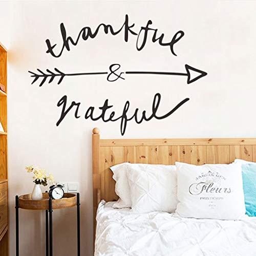 Motop 3D Adhesive Vinyl Wall Door Sticker Art Decorations for Nursery,Bedroom,Living Room,Kids Room-Removable 'Thankful Arrow' Wall Stickers Art Wall Decals (A Thankful Heart Creates A Thankful Home)