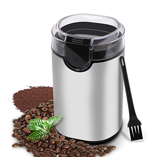Morpilot Electric Coffee Grinder with 304 Stainless Steel Blades – Silver