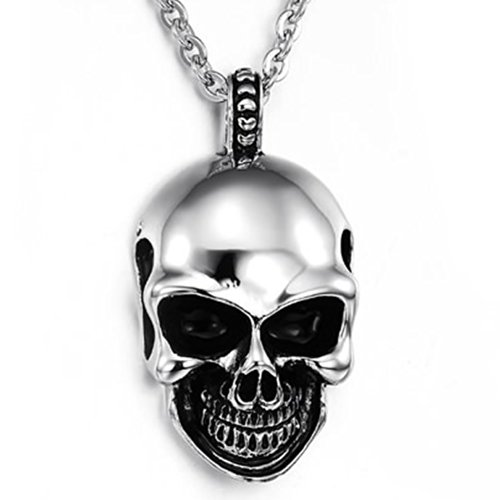 KONOV Mens Gothic Skull Stainless Steel Pendant Necklace, Silver Black, 24