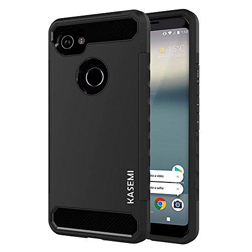 Google Pixel 2 XL Case,KASEMI [Carbon Fiber Series] Dual Layer Hybrid Case with Shock Absorption - Black