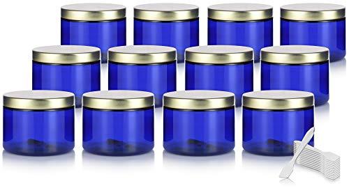 Cobalt Blue PET Plastic BPA Free Refillable Low Profile Jar with Gold Metal Lid – 6 oz 12 Pack Spatulas