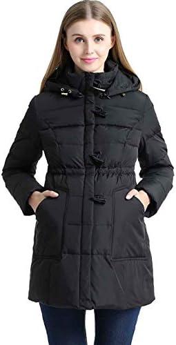 Momo Maternity Outerwear Women's Marlo Hooded Toggle Down Parka Coat Pregnancy Winter Jacket